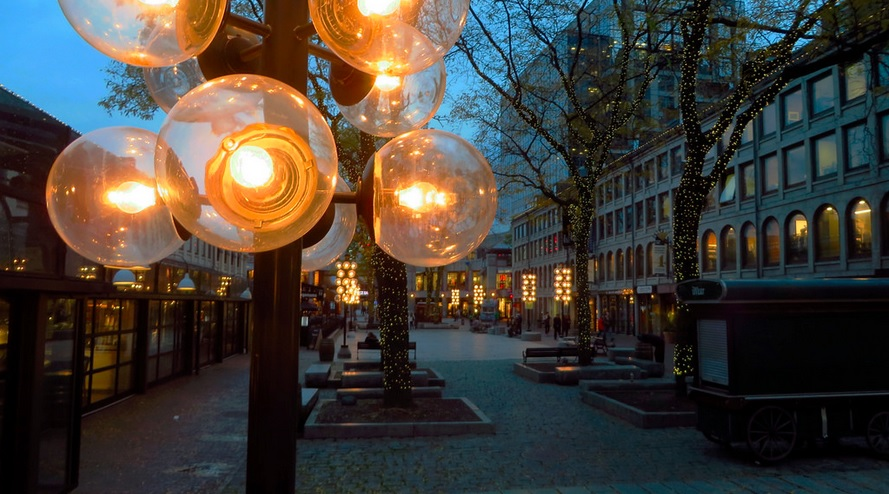 Lights outside Faneuil Hall in Boston, Massachusetts
