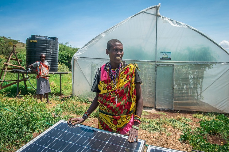 Solar powers a greenhouse in Leparua, Kenya