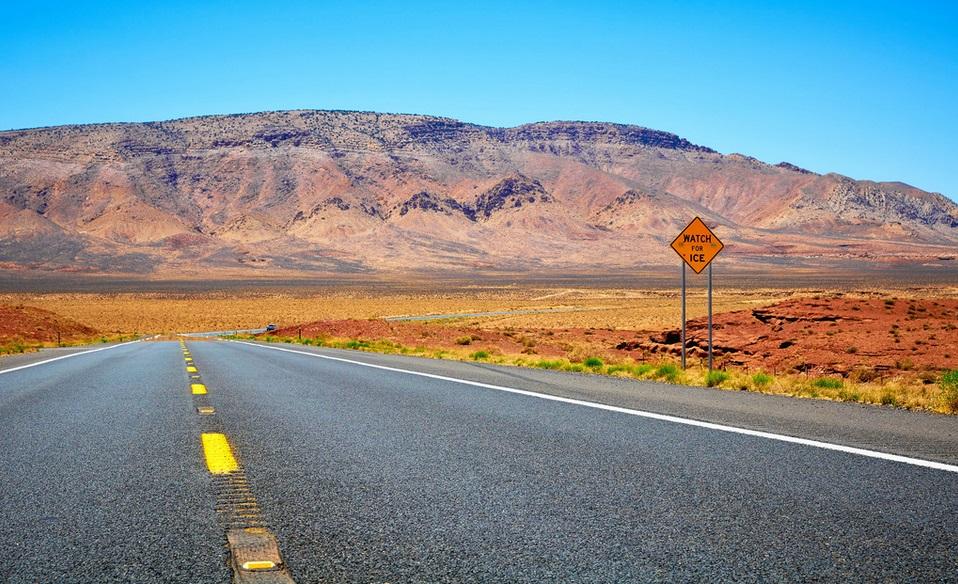 Arizona road and mountain