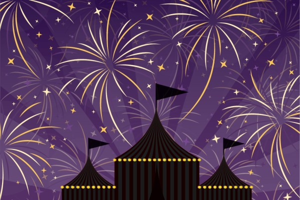 Grand finale with fireworks above a circus tent